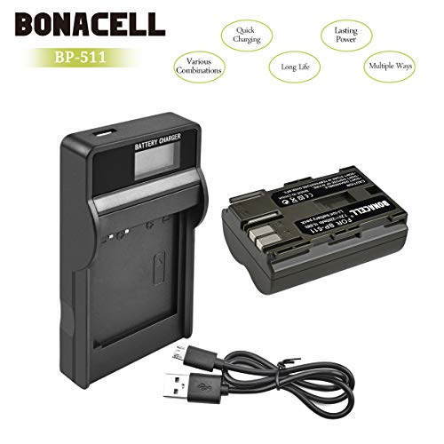 Bonacell 1X 2200mAh Ersatzakku für Canon BP-511 mit LCD Ladegerät Set | Kompatibel mit Canon EOS 10D, 20D, 20Da, 30D, 40D, 50D, 5D, D30, D60/PowerShot G1, G2, G3, G5, G6