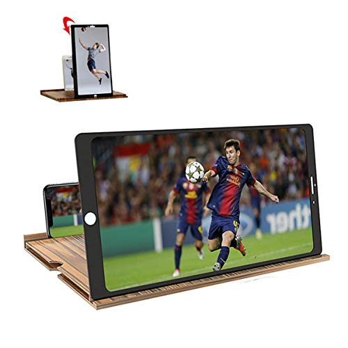 12 inch Screen Magnifier- Free Switching Between horizontal and Vertical Screens,3D HD Mobile Phone Magnifier Projection Surface for Movies, Videos and Games,Solid Wood Grain Folding Screen (Golden)