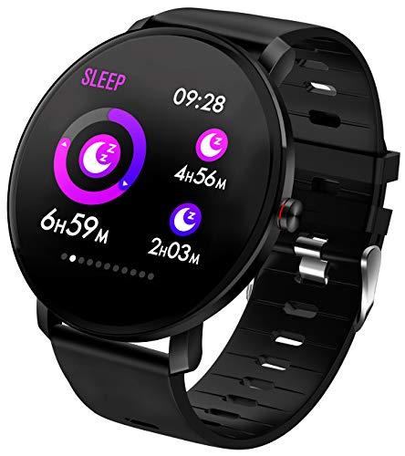 Smartwatch Damen Herren Pulsmesser Touchscreen Farbbildschirm Fitness Armband Uhr mit Blutdruckmessung Kalorienzähler IP68 Wasserdicht