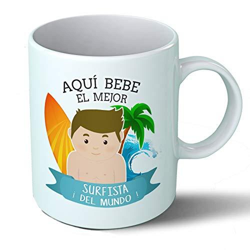 Taza Desayuno Aquí Bebe el Mejor Surfista del Mundo Regalo para surfero Surf Playa Olas Surfing Ceramica café 330 mL
