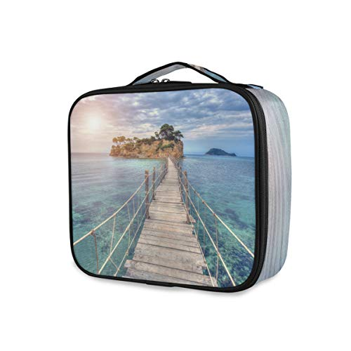 Outils de voyage Cosmetic Train Case Purse Portable Storage Makeup Bag Ocean Sea Bridge Island Toiletry Pouch