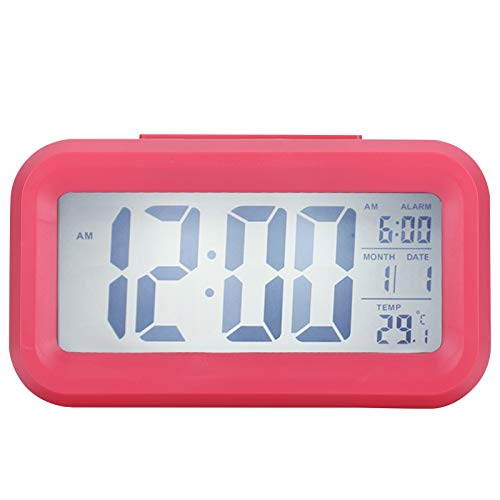 01 Reloj Despertador Digital, Pantalla LCD Reloj electrónico Reloj de Escritorio Reloj con Pantalla Digital Reloj de Escritorio Reloj Despertador con Pantalla de Temperatura(Rosa)