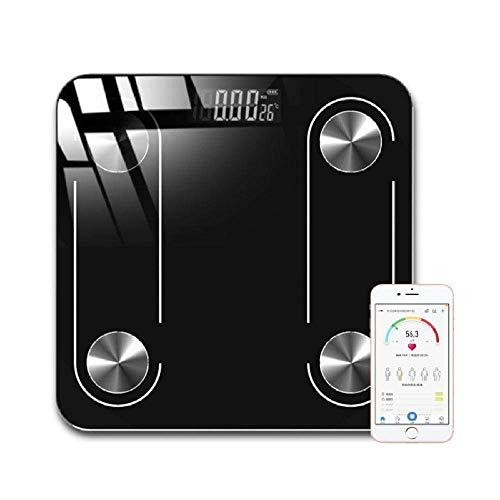 BINGFANG-W Discs Waage Digitale Körperfettwaage, Bluetooth Badezimmer-Gewicht Waage, Boden Elektronische intelligenter Bmi Bluetooth-Skala, Menschliches Gewicht Gleichgewicht, 180Kg, Schwarz Abrasive