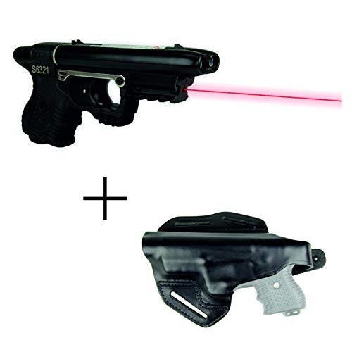 kogu Set mit JPX Jet Protector Pfefferspraypistole mit Laserzielhilfe - Tierabwehrspray, Abwehrgerät inkl. Gürtelholster aus Leder