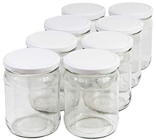 Wamat 450 ml Einweckgläser mit Deckel weiß to 82 Einmachgläser Vorratsgläser Einmachglas Weck (Menge: 24 Stück)