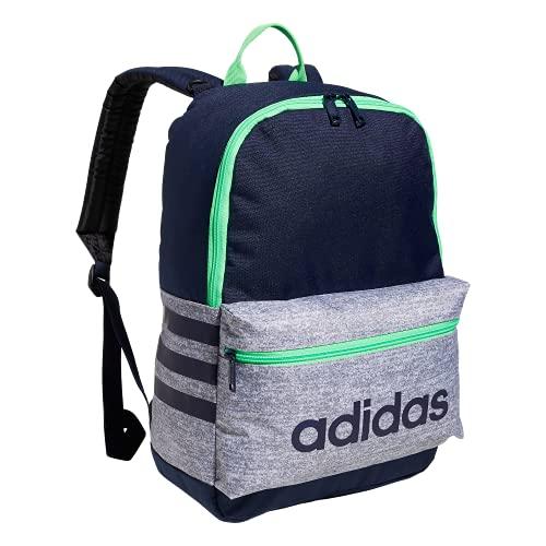 adidas - Zaino da ragazzo classico 3s, Bambino, 978479, Jersey Grey/Collegiate Navy/Screaming Green, Taglia unica