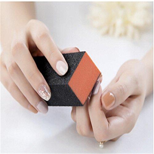 DaoRier Blocs Polissoir Manucure Faux Ongles Nail Art Noir Rouge 10 PCS