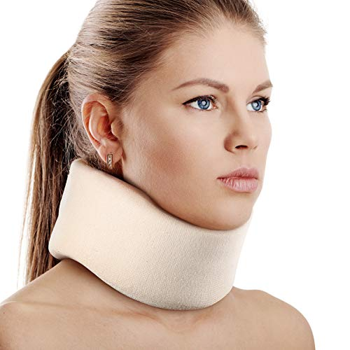 Soft Foam Neck Brace Universal Cervical Collar, Adjustable Neck Support Brace for Sleeping - Relieves Neck Pain and Spine Pressure, Neck Collar After Whiplash or Injury (3' Depth Collar, L)