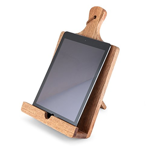 Twine 4692 Rustic Farmhouse Acacia Wood Tablet Cooking Stand, Wood