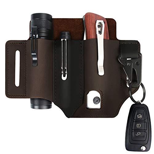 Upgraded Leather Belt Sheath with Key Holder + Pens Clip + Flashlight Holster Sheath, Multitool 3 EDC Pockets Organizer Sheath Pouch for Men, Knife Organizer Leather Sheath - Dark Brown