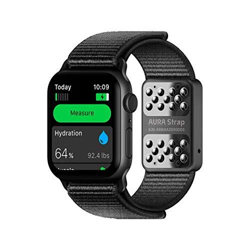 AURA Strap Fitness-Tracker für Körperzusammensetzung und Trinkniveau, kompatibel mit Apple Watch, 42 mm, 44 mm, Kohleschwarz