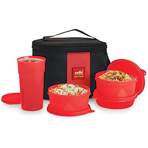 Cello Max Fresh Polypropylene Super Lunch Box Set, 4-Pieces, Red @333