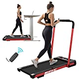 FYC 2 in 1 Folding Treadmill for Home - Under Desk 2.5HP Electric Treadmill Workout Foldable Portable Compact Running Machine w/Remote Control 5 Modes 12 Programs for Exercise, Installation Free (Red)