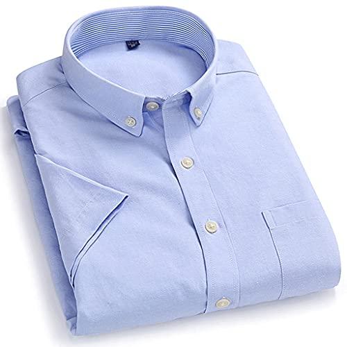 SLATIOM Color de manga corta para hombre Verano Nuevo collar de botones suave regular regular camisa casual...