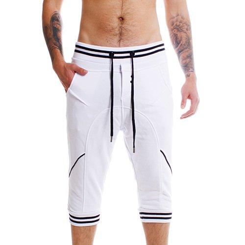 Young & Rich Herren Baggy Freizeit Shorts Jogginghose Sweatpants 34-3314 Kurze Hose Capri Joggingshorts, Grösse:L;Farbe:Weiß