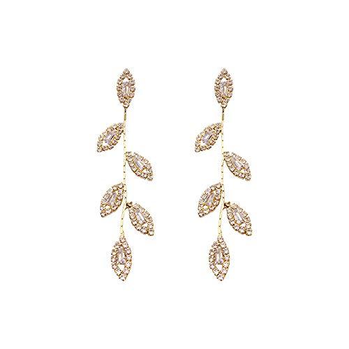 Pendientes de diamantes de imitación de aguja de plata 925 pendientes de hoja larga de temperamento femenino pendientes exagerados