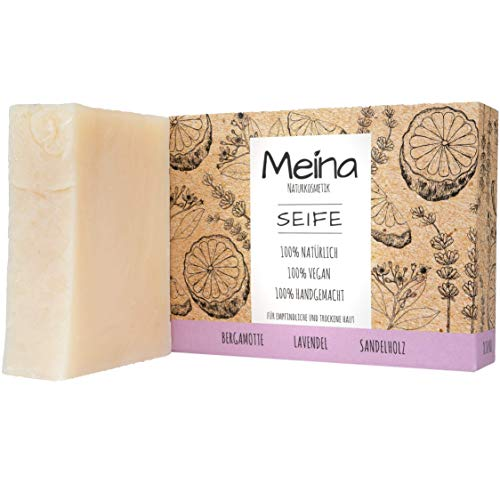 Meina Naturkosmetik - Naturseife, Bio Seife mit Sandelholz und Lavendel ohne Palmöl, Vegan, Handgemacht (1 x 100 g)