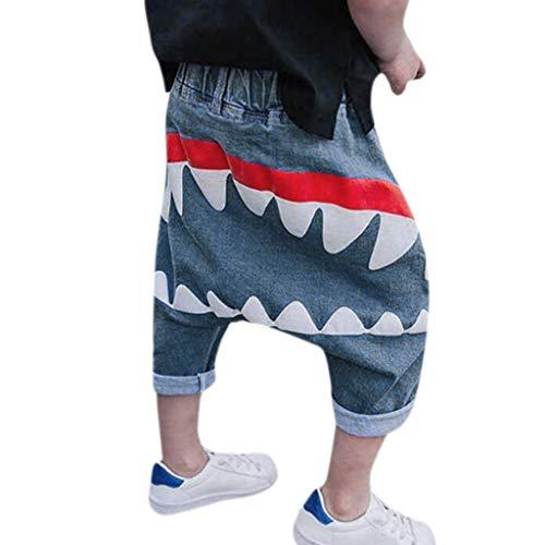 Allence Baby Kinder Kinder Jungen MäDchen Cartoon Muster Zunge Harem Hosen Hosen Hosen Blau 1-6 Jahre