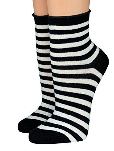 CRÖNERT Socken Kurzsocken Söckchen Kieler Ringel mit Rollrand 16808 (35-38, schwarz 1001)