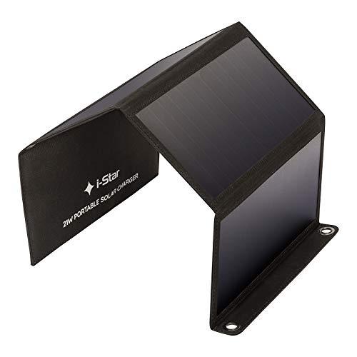 Panel Solar, Cargador Solar Portatil 21W con 4 Paneles Solares, 2 Puertos USB, Cargador Solar Movil Plegable, Placa Solar Portatil