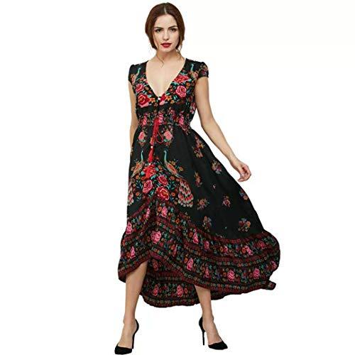 GWEI】Langes Kleid Damen Sommer V-Ausschnitt lässig Elegante böhmische Blume Strandkleid Retro Mode kurzärmeliges Cocktail Kleid (Schwarz, 3XL)