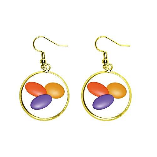 Ohrringe mit Pillen-Illustration, Gesundheitsprodukte, Muster, goldfarben, für Damen