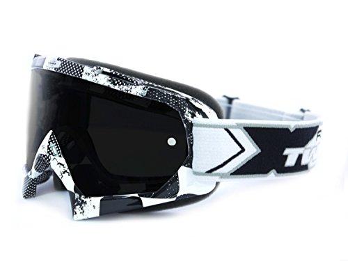 TWO-X Race Crossbrille Factory schwarz Weiss Glas getönt schwarz grau MX Brille Motocross Enduro Motorradbrille Anti Scratch MX Schutzbrille