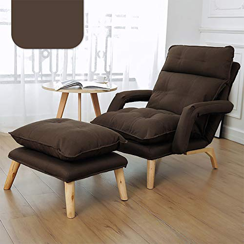 Leisure Sofa Chair with Ottoman, Thick Padded Lounge Armchair Set, Adjustable Back, Detachable Chair Cushion, Sturdy Steel Frame, Solid Wood Legs, Suitable for Family Hotel Villa Club