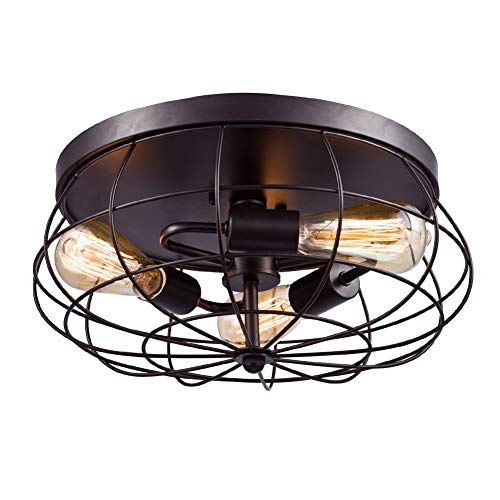 Vintage Ceiling Light- Easric 3 Light Fan Industrial Metal Cage Flush Mount...
