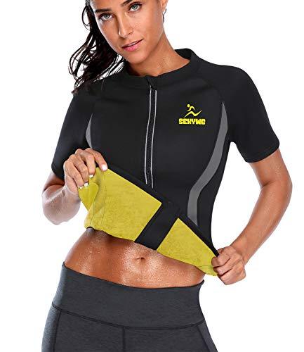 SEXYWG Women Hot Sweat Weight Loss Sauna Shirt Neoprene Top Workout Body Shaper Slimming Training Suit Black