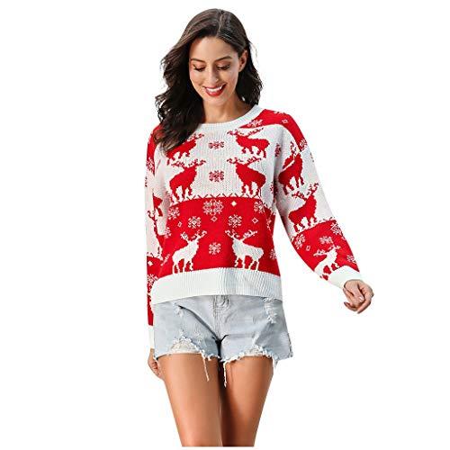 Luotuo Damen Pullover mit Weihnachten Geometrisches Muster Weihnachtspullover Langarm Schneeflocke Pullover Strickpullover Nordisches Strickmuster Pullover für Herbst Winter