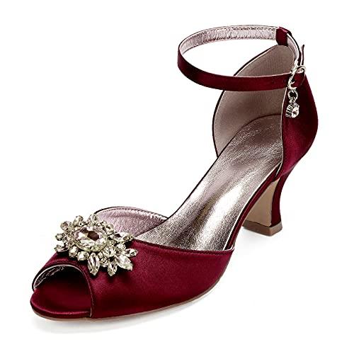 Gycdwjh Zapatos de Novia para Mujer, Zapatos de Novia de Tacón Alto Satén con Pedrería Tacón Medio Peep-Toe Sandalias Tacón 6,5 cm para Bodas Fiestas y Bailes,Wine Red,42 EU