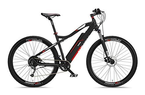 Telefunken E-Bike Mountainbike Elektrofahrrad Alu, 9 Gang Shimano Kettenschaltung - Pedelec MTB 29 Zoll, Hinterradmotor 250W, Scheibenbremsen, Anthrazit/Rot, Aufsteiger M920