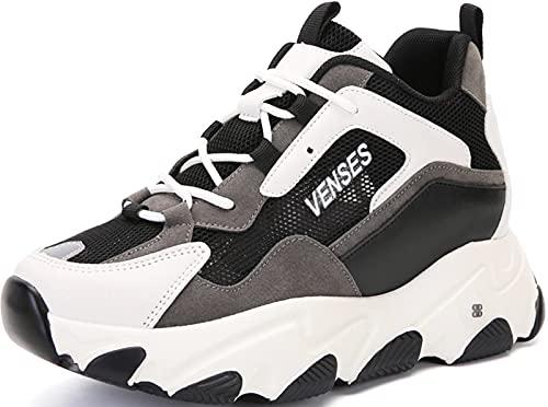 GILKUO Zapatillas Cuña Interior Mujer Verano Zapatillas Altas Deportivas Deporte Plataforma Sneakers Zapatos Cuña Talón 9cm Negro 38