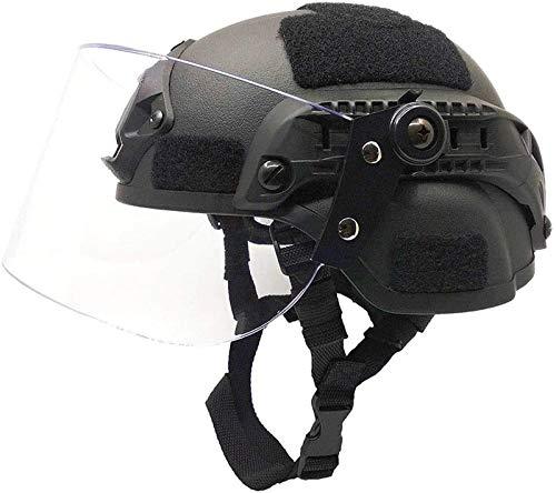 Feeyond Airsoft Taktische Militärische Paintball Swat Polizeihelm Mit Klaren Riot Visier Maske Schild Schiebebrille - Seitenschiene Montiert Schwarz
