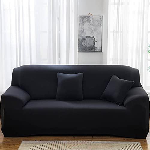 2 PCS Spandex Cubiertas de sofá Antideslizantes con elástico Adecuado para Todos los sofás, Protector de Muebles Lavables,Black,3 Seat (190-230cm)