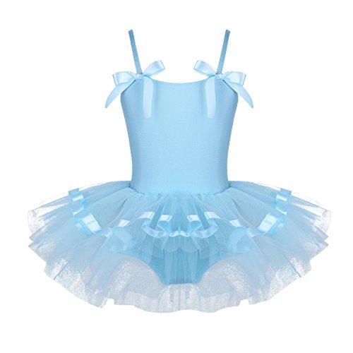 Agoky Baile de Ballet Vestido de Niña Maillot Traje de Ballet Tutú Leotardo Princess Girls Falda de Tul Traje de Carnaval Azul 5-6 años