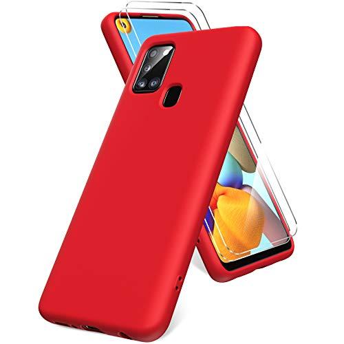 Oududianzi Funda para Samsung Galaxy A21s, Protector Pantalla Cristal Templado, Carcasa de Silicona Líquida Gel Ultra Suave Funda con tapete de Microfibra Anti-Rasguño - Rojo