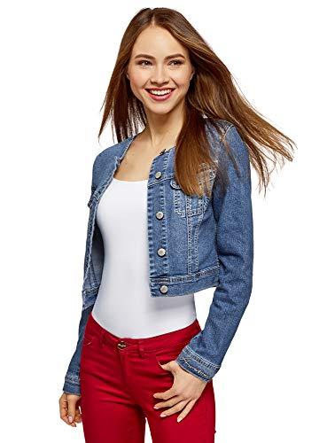 oodji Ultra Donna Giacca in Jeans Senza Colletto, Blu, IT 38 / EU 34 / XXS