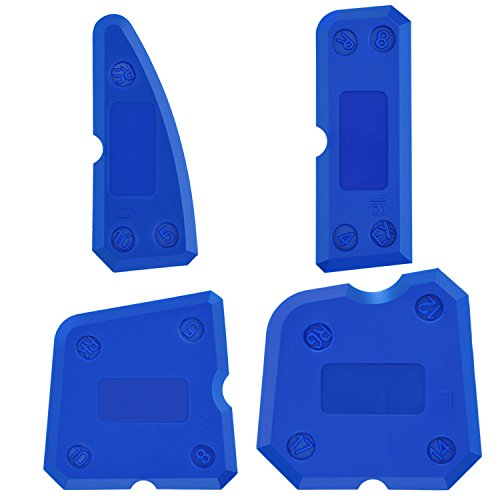 Hotop 4 Pieces Caulk Tool Kit Sealant Silicone Finishing Tools Caulking Tools for Silicone Sealant Grout Finishing Sealing (Blue)
