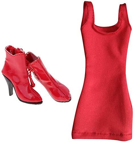 ZSMD 1/6 modieuze avondjurk en PU schoenen hoge hakken laarzen hoge schoenen voor 12'' vrouwelijke actie figuur lichaam