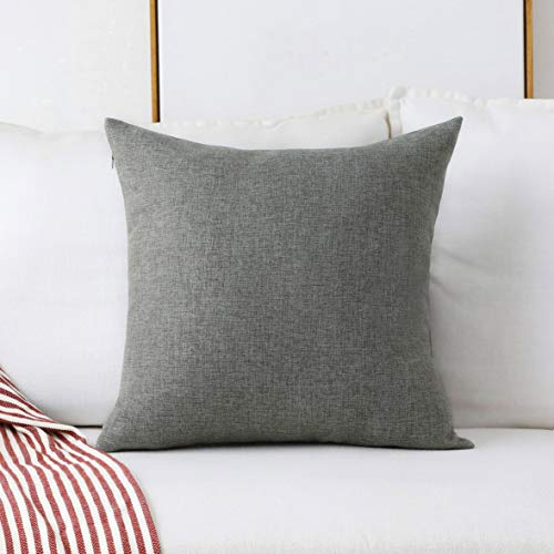 Home Brilliant Decorative Textured Linen Square Throw Pillow Cases Cushion Covers for Sofa Couch Bed, 18x18(45cm), Dark Grey
