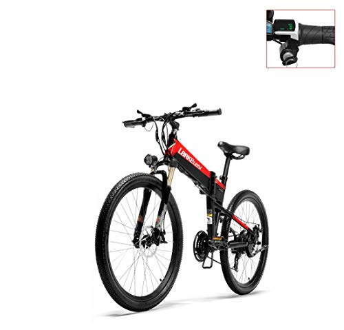 AISHFP Adult 26 Inch Electric Mountain Bike Soft Tail, 36V Lithium Battery Electric Bicycle, Foldable Aluminum Alloy Frame, 21 Speed,B