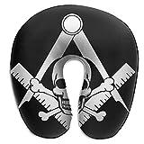Agnes Carey Almohada para el mentón del Cuello, Espuma de Memoria en Forma de U Logotipo del masón Cabeza de Calavera Negra...