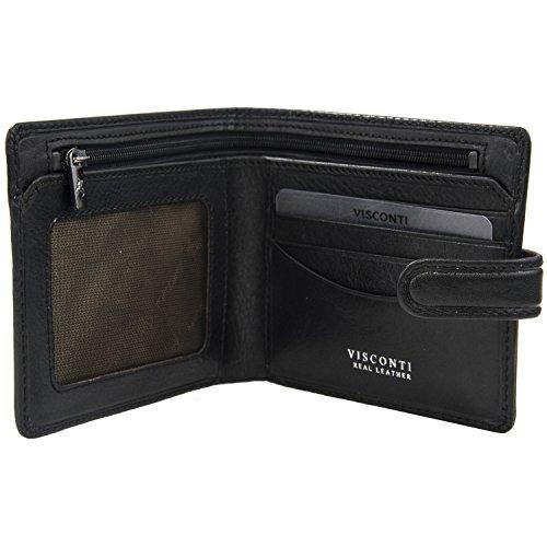 Visconti Tuscany 41 Geldbörse aus echtem Leder, RFID-blockierend, Schwarz