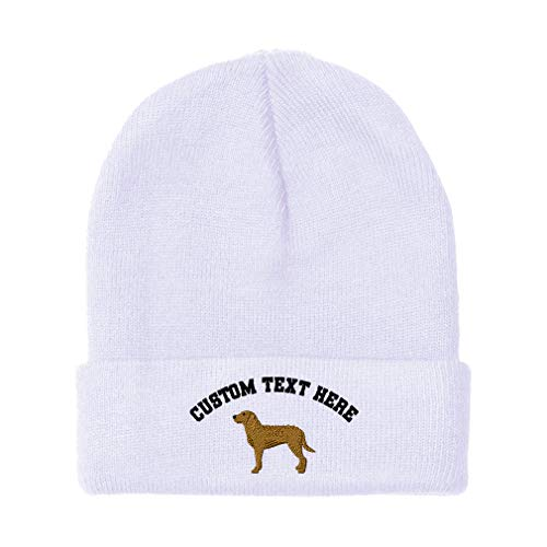 Custom Beanies for Men Chesapeake Embroidery Dogs Winter Hats Women Acrylic Skull Cap 1 Size White Personalized Text Here