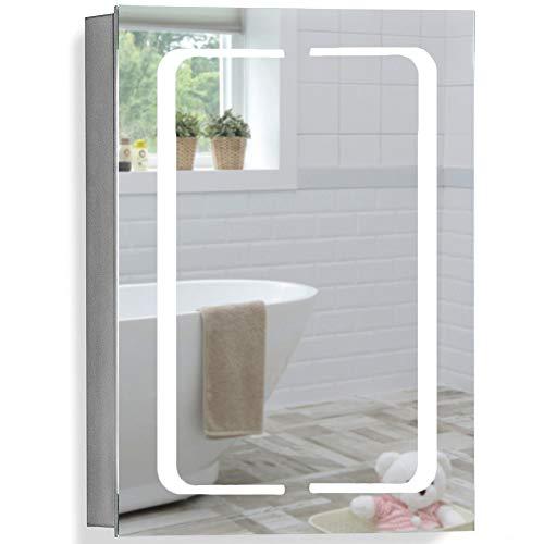 Armoire de Toilette pour Salle de Bain avec Miroir Lumineux, antibuée, Prise pour Rasoir, détecteur de Mouvement et éclairage LED 70cm(H) x 50cm(l) x 15cm(P) C17