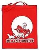 Icelandic Horse: Islandpferd Pony Merch - Bolsa de yute (con asas largas), color, talla 38cm-42cm