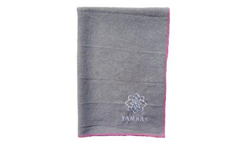 Yamkas Toalla Yoga Antideslizante • Microfibra • 183 x 61 cm • Absorvente del Sudor • Secado rápido • Compacta Towel para Esterilla Deporte • Gris