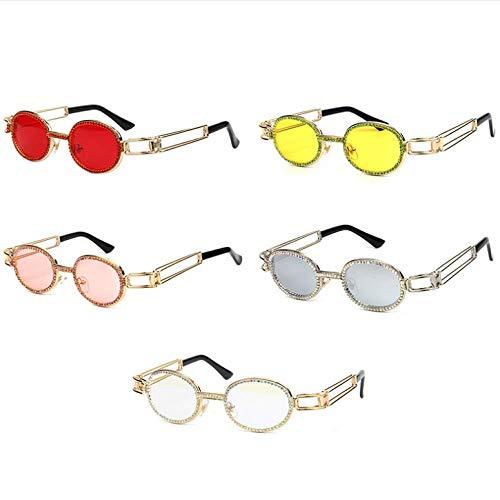 Nuevas gafas de sol de montura plana europeas y americanas rhinestones ovalados femeninos gafas de taladro de punto manual